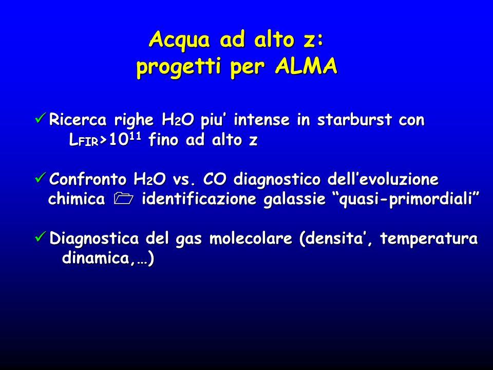 Acqua ad alto z: progetti per ALMA Ricerca righe H 2 O piu intense in starburst con Ricerca righe H 2 O piu intense in starburst con L FIR >10 11 fino