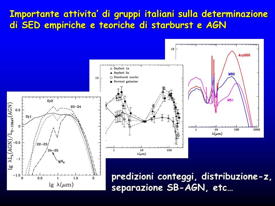 Importante attivita di gruppi italiani sulla determinazione di SED empiriche e teoriche di starburst e AGN predizioni conteggi, distribuzione-z, separ