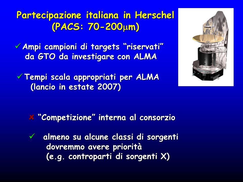 Partecipazione italiana in Herschel (PACS: 70-200 m) Ampi campioni di targets riservati Ampi campioni di targets riservati da GTO da investigare con A