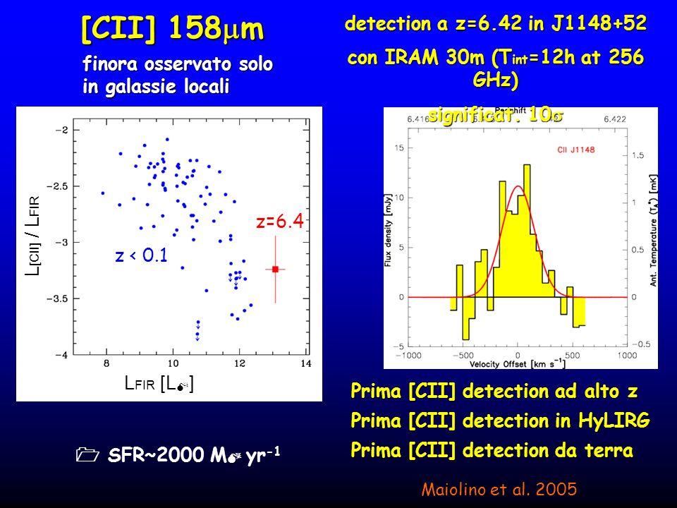 Vantaggi di [CII] rispetto al classico CO Traccia direttamente lattivita di formazione stellare Traccia direttamente lattivita di formazione stellare (e risolve ambiguita su contributo AGN-SB a far-IR) (e risolve ambiguita su contributo AGN-SB a far-IR) 10-100 volte piu intenso 10-100 volte piu intenso Beam([CII]) ~ 1/3 Beam(CO) Beam([CII]) ~ 1/3 Beam(CO) Osservabile a z molto piu elevati Osservabile a z molto piu elevati migliore strumento per dinamica (massa)