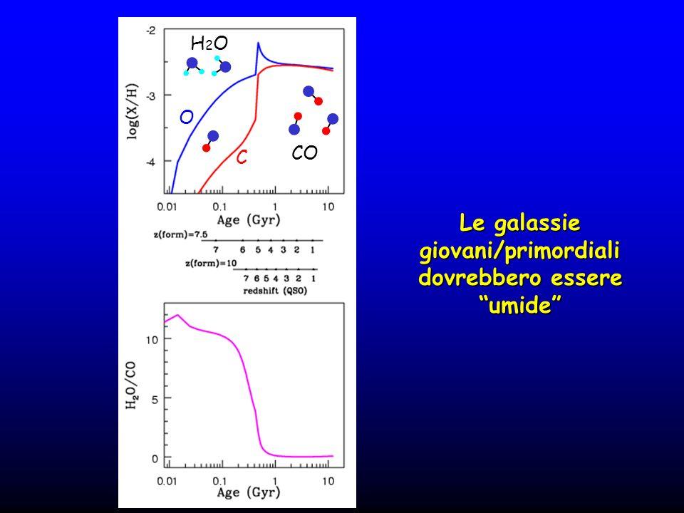 Le galassie giovani/primordiali dovrebbero essere umide CO O C H2OH2O