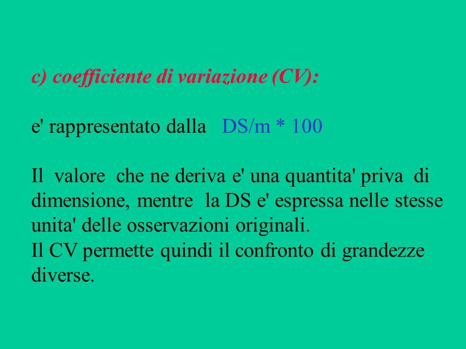 c) coefficiente di variazione (CV): e' rappresentato dalla DS/m * 100 Il valore che ne deriva e' una quantita' priva di dimensione, mentre la DS e' es