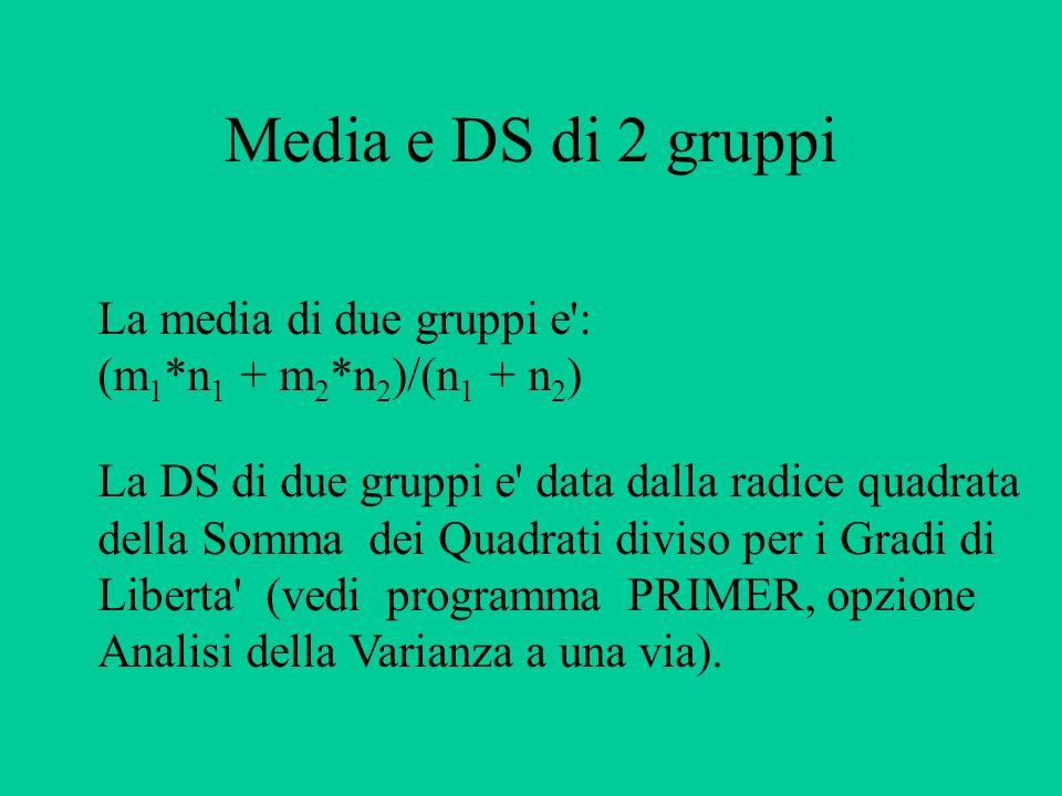 Media e DS di 2 gruppi La media di due gruppi e': (m 1 *n 1 + m 2 *n 2 )/(n 1 + n 2 ) La DS di due gruppi e' data dalla radice quadrata della Somma de