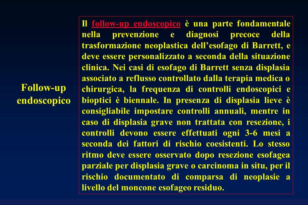 Follow-up endoscopico Il follow-up endoscopico è una parte fondamentale nella prevenzione e diagnosi precoce della trasformazione neoplastica dellesof