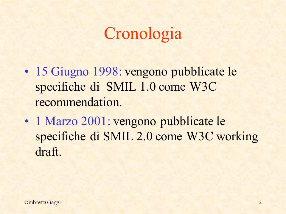 Ombretta Gaggi2 Cronologia 15 Giugno 1998: vengono pubblicate le specifiche di SMIL 1.0 come W3C recommendation.