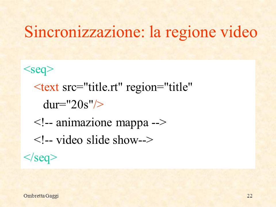 Ombretta Gaggi22 Sincronizzazione: la regione video <text src= title.rt region= title dur= 20s />