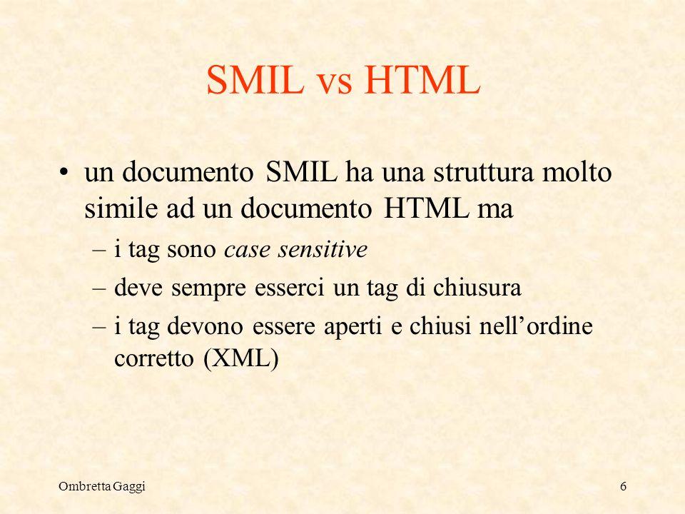 Ombretta Gaggi6 SMIL vs HTML un documento SMIL ha una struttura molto simile ad un documento HTML ma –i tag sono case sensitive –deve sempre esserci un tag di chiusura –i tag devono essere aperti e chiusi nellordine corretto (XML)