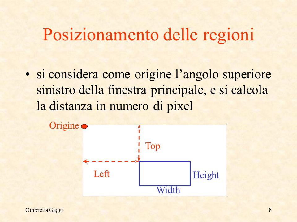 Ombretta Gaggi8 Posizionamento delle regioni si considera come origine langolo superiore sinistro della finestra principale, e si calcola la distanza in numero di pixel Origine Top Left Width Height