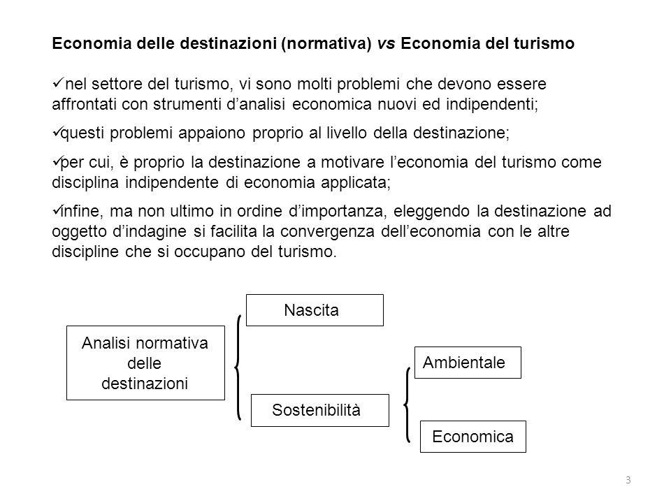 3 Economia delle destinazioni (normativa) vs Economia del turismo nel settore del turismo, vi sono molti problemi che devono essere affrontati con str