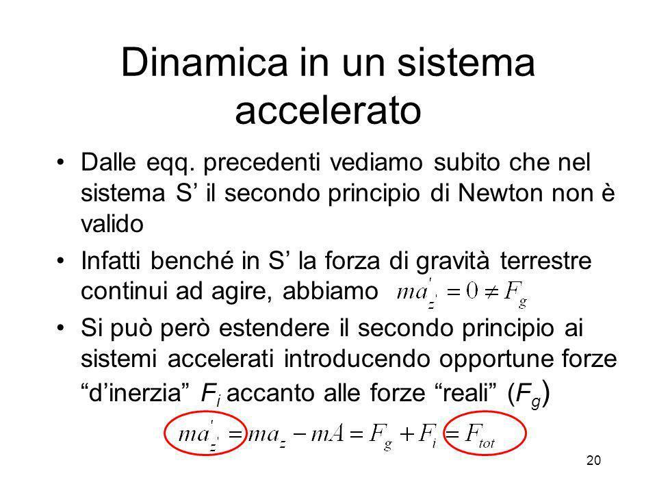 Dinamica in un sistema accelerato In S la forza dinerzia bilancia esattamente la forza di gravità, per cui in S (sistema che trasla di moto uniformemente accelerato con A=g rispetto a S) il grave, inizialmente fermo, continua a rimanere fermo 21