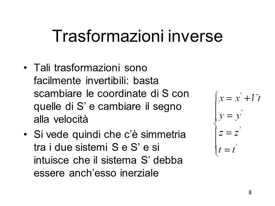 Trasformazioni di Lorentz In relativita` le trasformazioni di Galileo sono sostituite da quelle di Lorentz 9