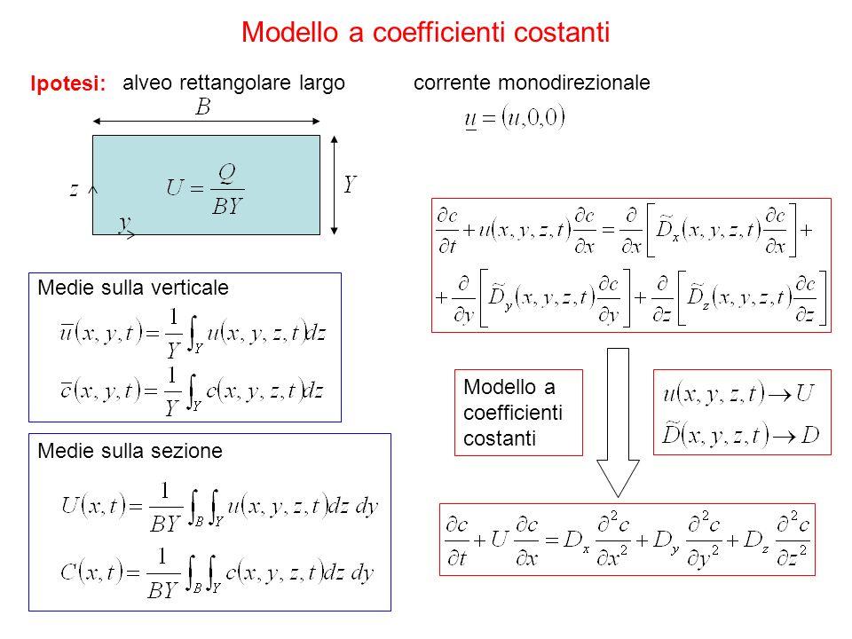 alveo rettangolare largo Ipotesi: corrente monodirezionale Medie sulla verticale Medie sulla sezione Modello a coefficienti costanti