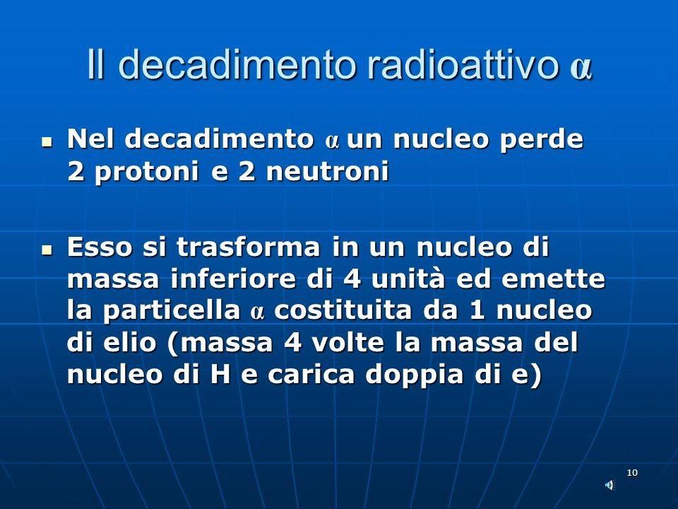 10 Il decadimento radioattivo α Nel decadimento α un nucleo perde 2 protoni e 2 neutroni Nel decadimento α un nucleo perde 2 protoni e 2 neutroni Esso si trasforma in un nucleo di massa inferiore di 4 unità ed emette la particella α costituita da 1 nucleo di elio (massa 4 volte la massa del nucleo di H e carica doppia di e) Esso si trasforma in un nucleo di massa inferiore di 4 unità ed emette la particella α costituita da 1 nucleo di elio (massa 4 volte la massa del nucleo di H e carica doppia di e)