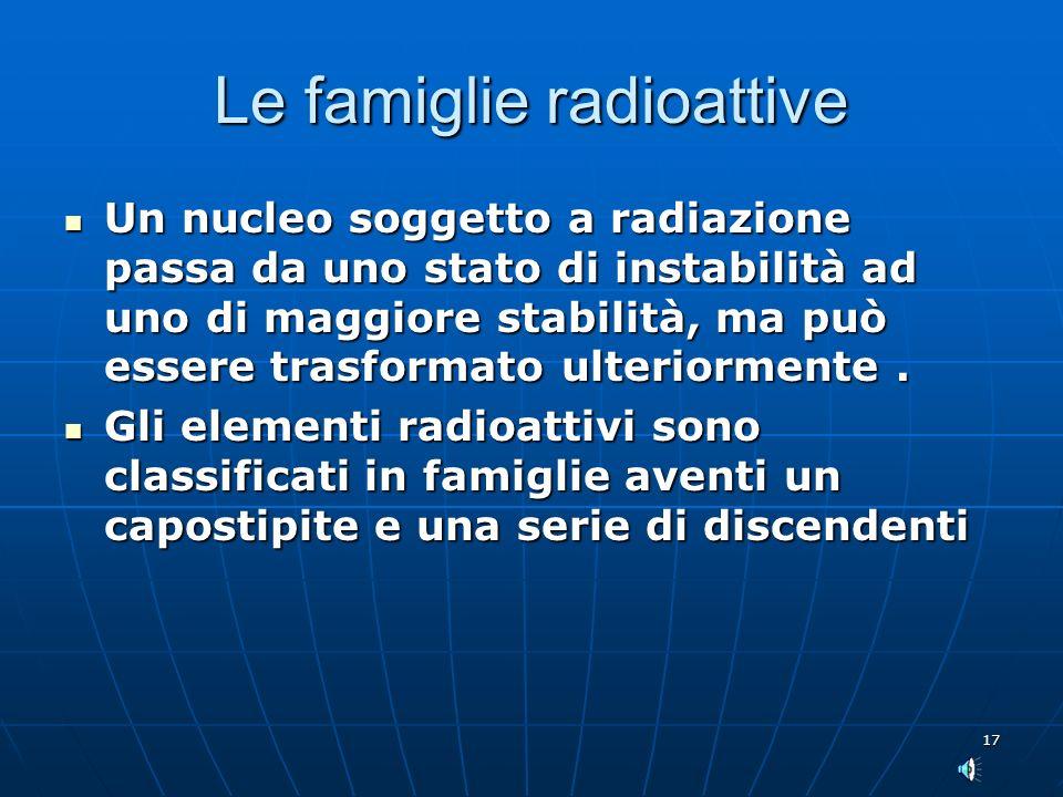 17 Le famiglie radioattive Un nucleo soggetto a radiazione passa da uno stato di instabilità ad uno di maggiore stabilità, ma può essere trasformato ulteriormente.