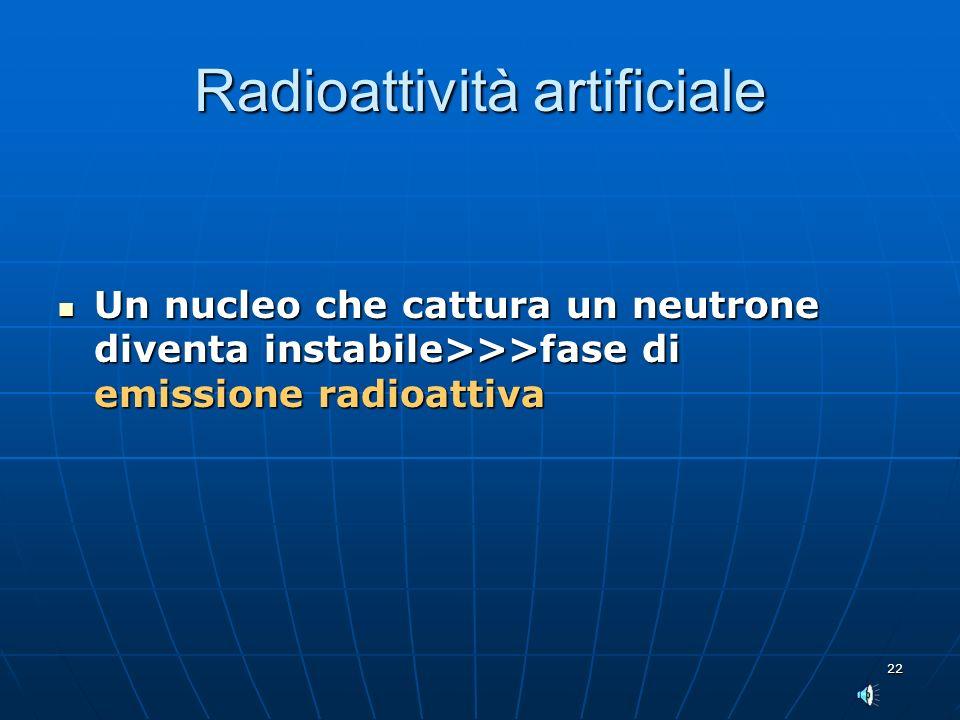 22 Radioattività artificiale Un nucleo che cattura un neutrone diventa instabile>>>fase di emissione radioattiva Un nucleo che cattura un neutrone div