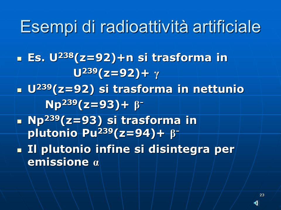 23 Esempi di radioattività artificiale Es. U 238 (z=92)+n si trasforma in Es. U 238 (z=92)+n si trasforma in U 239 (z=92)+ γ U 239 (z=92)+ γ U 239 (z=