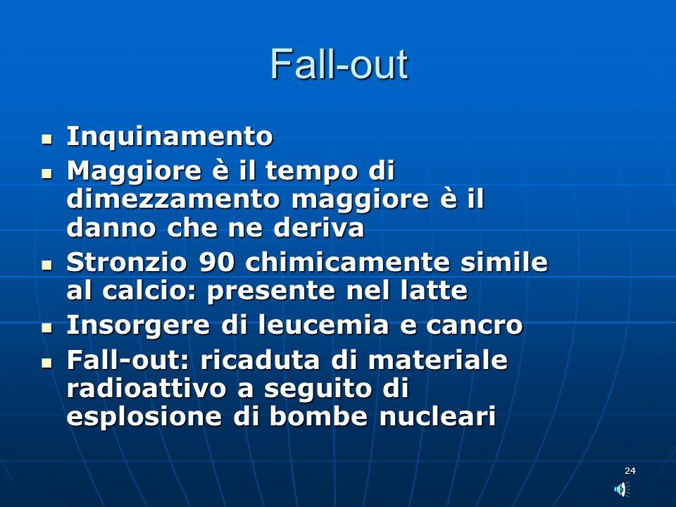 24 Fall-out Inquinamento Inquinamento Maggiore è il tempo di dimezzamento maggiore è il danno che ne deriva Maggiore è il tempo di dimezzamento maggio