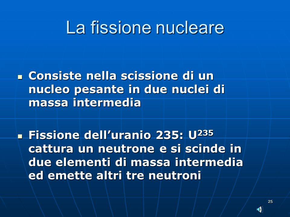 25 La fissione nucleare Consiste nella scissione di un nucleo pesante in due nuclei di massa intermedia Consiste nella scissione di un nucleo pesante in due nuclei di massa intermedia Fissione delluranio 235: U 235 cattura un neutrone e si scinde in due elementi di massa intermedia ed emette altri tre neutroni Fissione delluranio 235: U 235 cattura un neutrone e si scinde in due elementi di massa intermedia ed emette altri tre neutroni