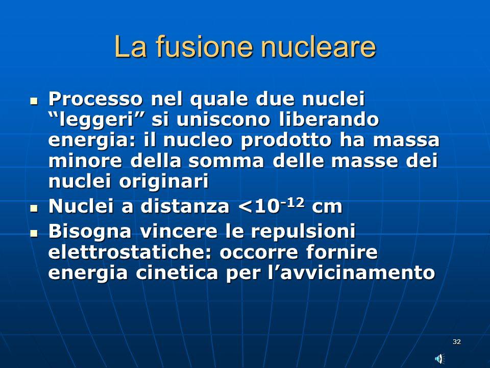 32 La fusione nucleare Processo nel quale due nuclei leggeri si uniscono liberando energia: il nucleo prodotto ha massa minore della somma delle masse dei nuclei originari Processo nel quale due nuclei leggeri si uniscono liberando energia: il nucleo prodotto ha massa minore della somma delle masse dei nuclei originari Nuclei a distanza <10 -12 cm Nuclei a distanza <10 -12 cm Bisogna vincere le repulsioni elettrostatiche: occorre fornire energia cinetica per lavvicinamento Bisogna vincere le repulsioni elettrostatiche: occorre fornire energia cinetica per lavvicinamento