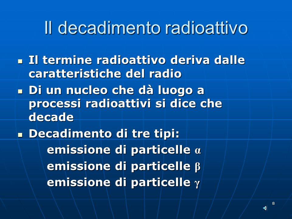 8 Il decadimento radioattivo Il termine radioattivo deriva dalle caratteristiche del radio Il termine radioattivo deriva dalle caratteristiche del radio Di un nucleo che dà luogo a processi radioattivi si dice che decade Di un nucleo che dà luogo a processi radioattivi si dice che decade Decadimento di tre tipi: Decadimento di tre tipi: emissione di particelle α emissione di particelle β emissione di particelle γ