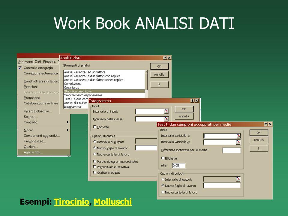 Work Book ANALISI DATI Esempi: Tirocinio, MolluschiTirocinioMolluschi