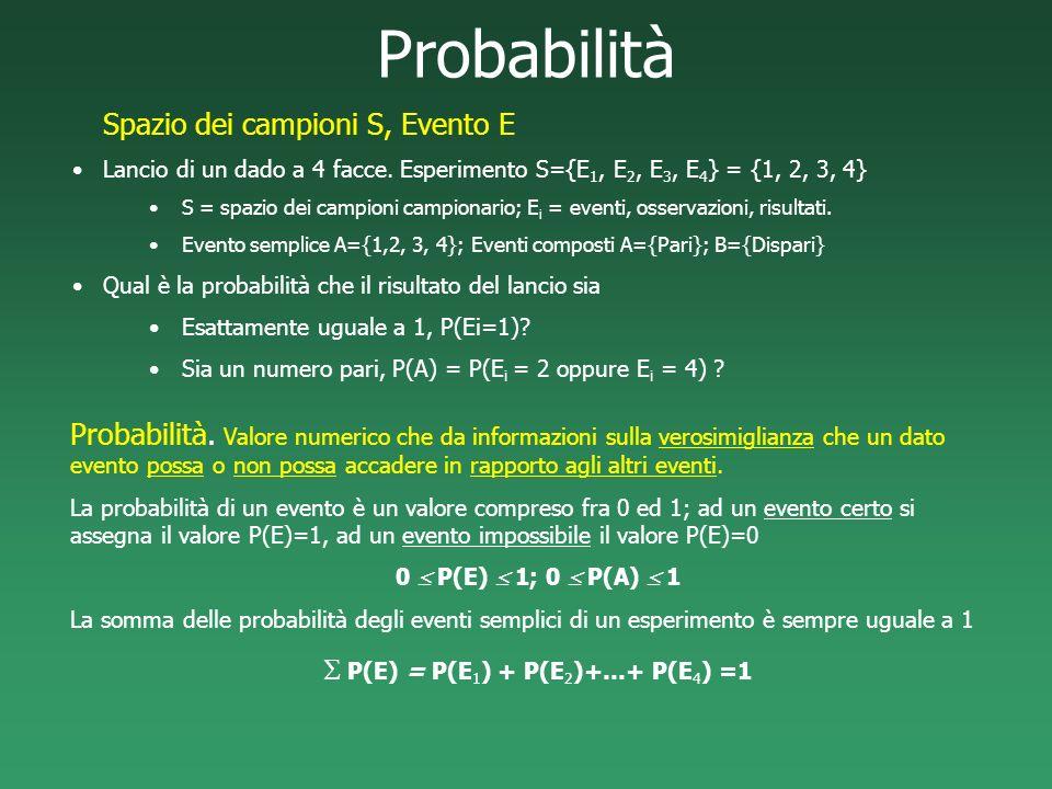 Probabilità Probabilità. Valore numerico che da informazioni sulla verosimiglianza che un dato evento possa o non possa accadere in rapporto agli altr