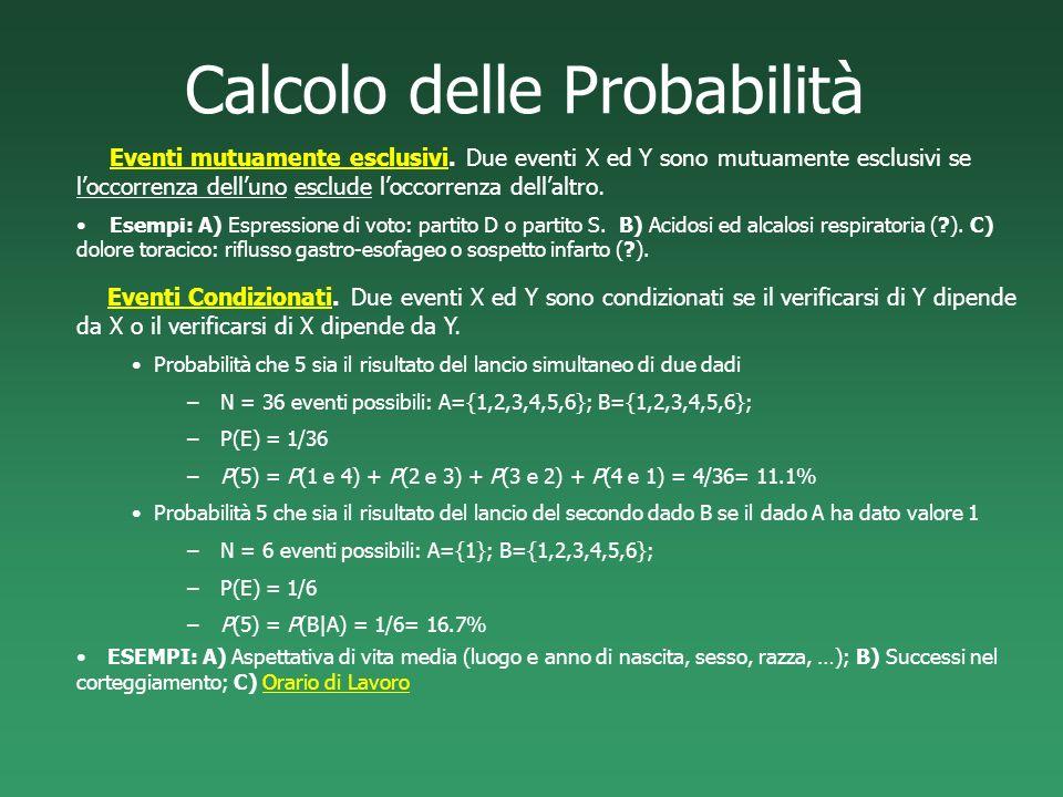 Calcolo delle Probabilità Eventi mutuamente esclusivi. Due eventi X ed Y sono mutuamente esclusivi se loccorrenza delluno esclude loccorrenza dellaltr