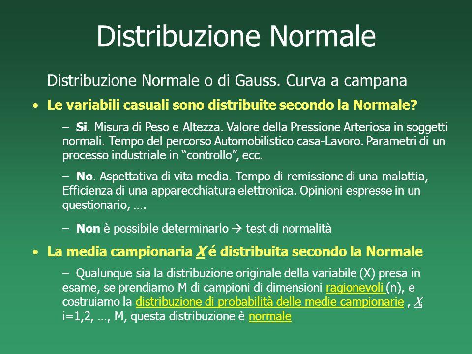 Distribuzione Normale Distribuzione Normale o di Gauss. Curva a campana Le variabili casuali sono distribuite secondo la Normale? –Si. Misura di Peso