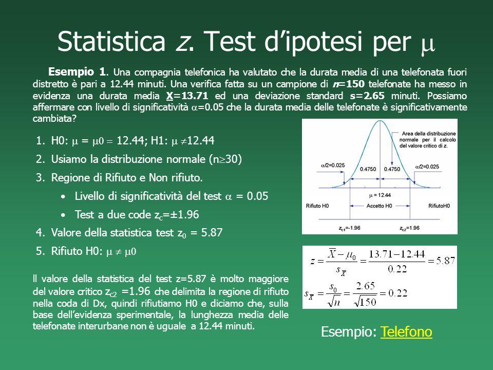 Statistica z. Test dipotesi per Esempio 1. Una compagnia telefonica ha valutato che la durata media di una telefonata fuori distretto è pari a 12.44 m