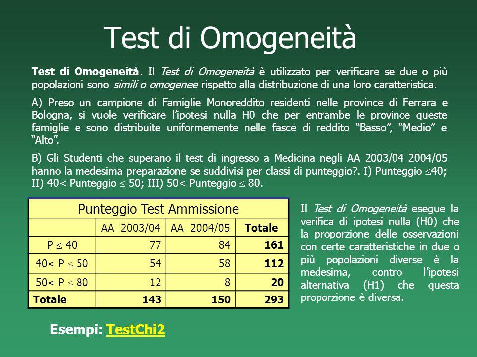 Test di Omogeneità Test di Omogeneità. Il Test di Omogeneità è utilizzato per verificare se due o più popolazioni sono simili o omogenee rispetto alla