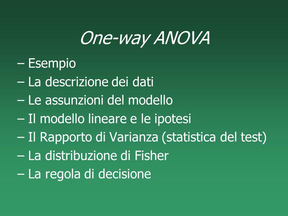 One-way ANOVA –Esempio –La descrizione dei dati –Le assunzioni del modello –Il modello lineare e le ipotesi –Il Rapporto di Varianza (statistica del t