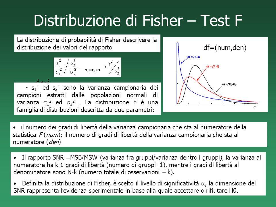 Distribuzione di Fisher – Test F Il rapporto SNR =MSB/MSW (varianza fra gruppi/varianza dentro i gruppi), la varianza al numeratore ha k-1 gradi di li