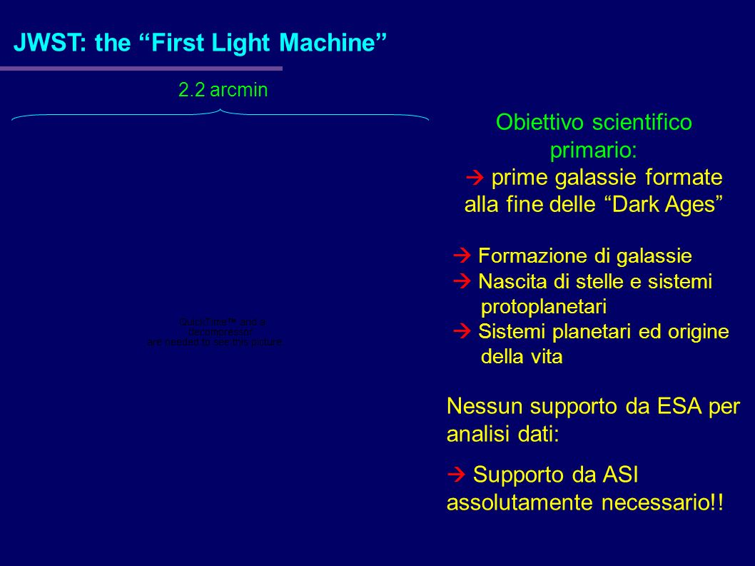JWST: the First Light Machine 2.2 arcmin Obiettivo scientifico primario: prime galassie formate alla fine delle Dark Ages Formazione di galassie Nasci