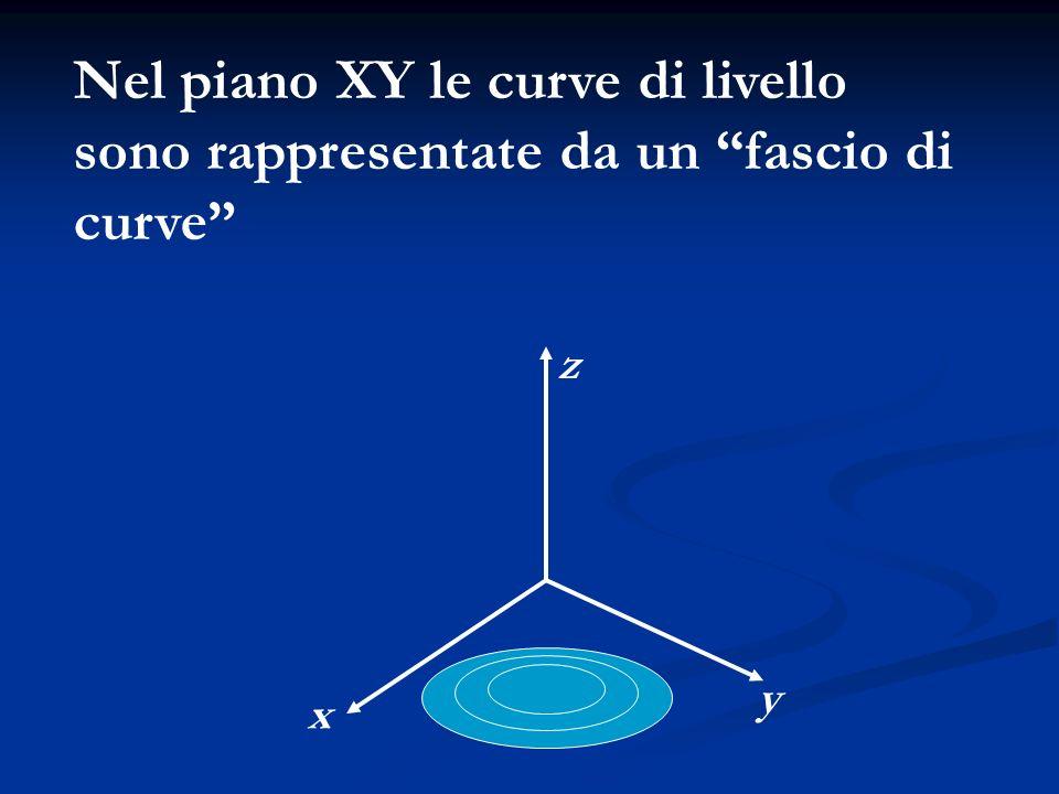 x z y Nel piano XY le curve di livello sono rappresentate da un fascio di curve