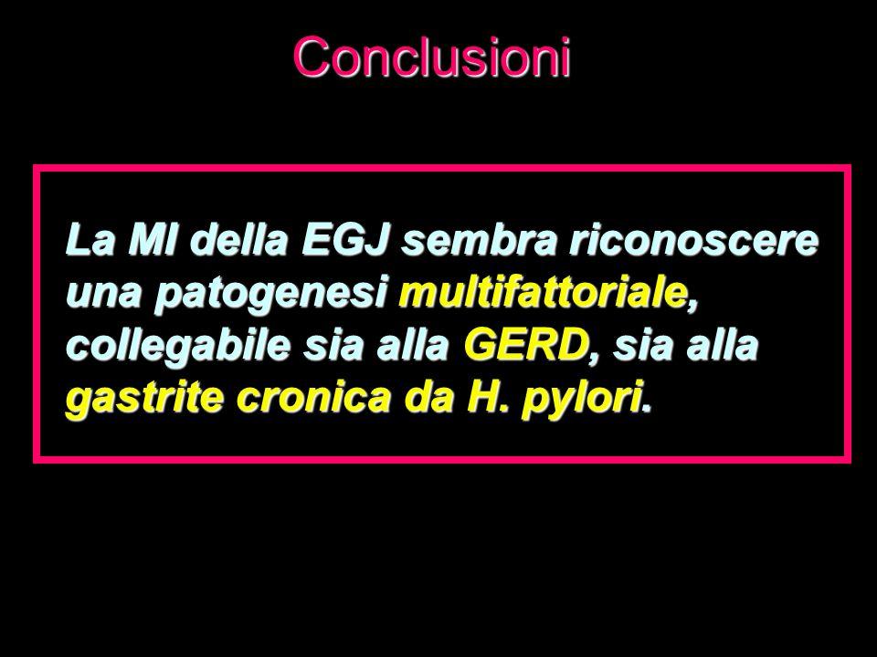Conclusioni La MI della EGJ sembra riconoscere una patogenesi multifattoriale, collegabile sia alla GERD, sia alla gastrite cronica da H. pylori.