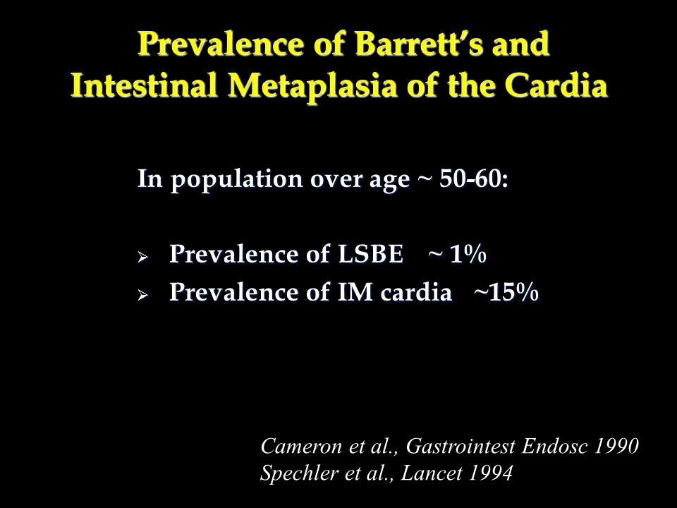 Clinical characteristics of patients with short segment Barrett s oesophagus (SSBO) and cardia intestinal metaplasia (CIM) SSBO (n=177) CIM (n=76)p Value Mean age (y) 62 670.0045 Dysplasia prevalence 11.3% 1.3% 0.0058 Dysplasia incidence (per year) 4.6%1.5%0.0077* No of patients with high grade dysplasia500.326 dysplasia500.326 Sharma et al Gut 2000