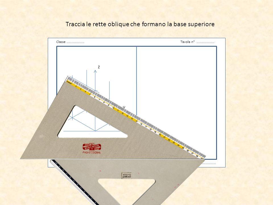 v Classe …………………Tavola n° ………………… Data …………………Cognome Nome ……………………… z x y Traccia le rette oblique che formano la base superiore