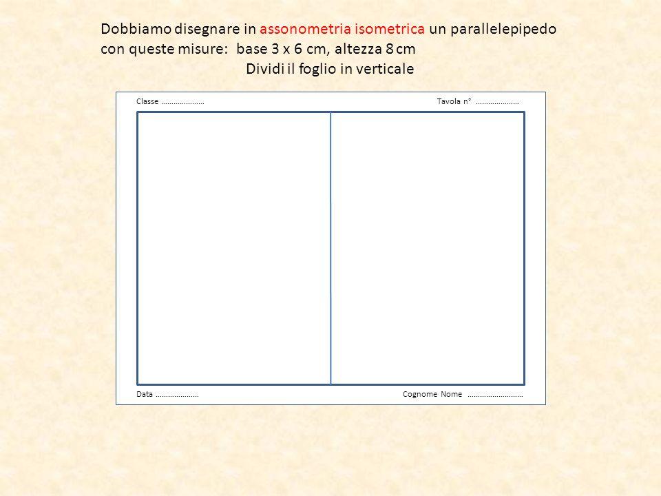 Traccia la linea di riferimento orizzontale v Classe …………………Tavola n° ………………… Data …………………Cognome Nome ………………………