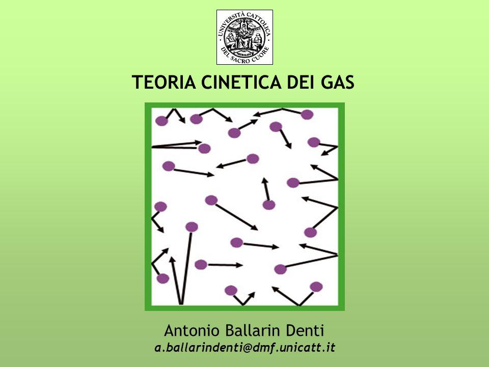 TEORIA CINETICA DEI GAS Antonio Ballarin Denti a.ballarindenti@dmf.unicatt.it