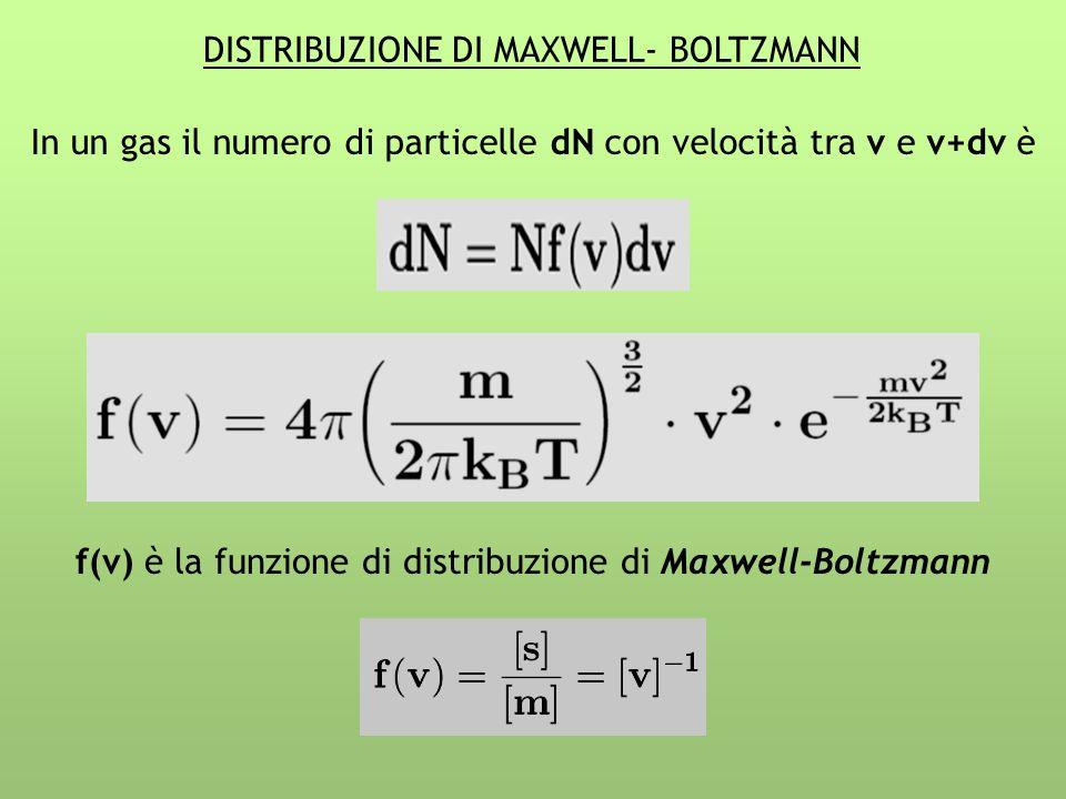 DISTRIBUZIONE DI MAXWELL- BOLTZMANN In un gas il numero di particelle dN con velocità tra v e v+dv è f(v) è la funzione di distribuzione di Maxwell-Bo