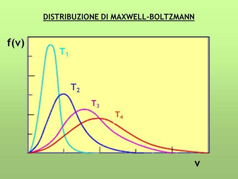 f(v) v T1T1 T2T2 T3T3 T4T4 DISTRIBUZIONE DI MAXWELL-BOLTZMANN