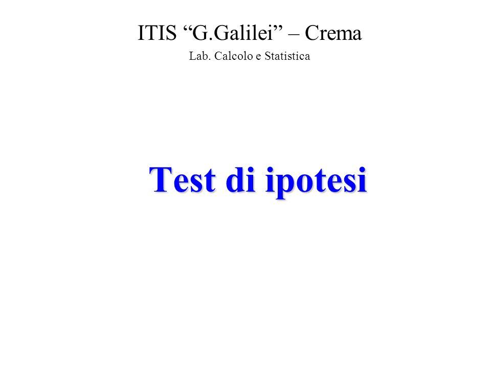 Test di ipotesi ITIS G.Galilei – Crema Lab. Calcolo e Statistica