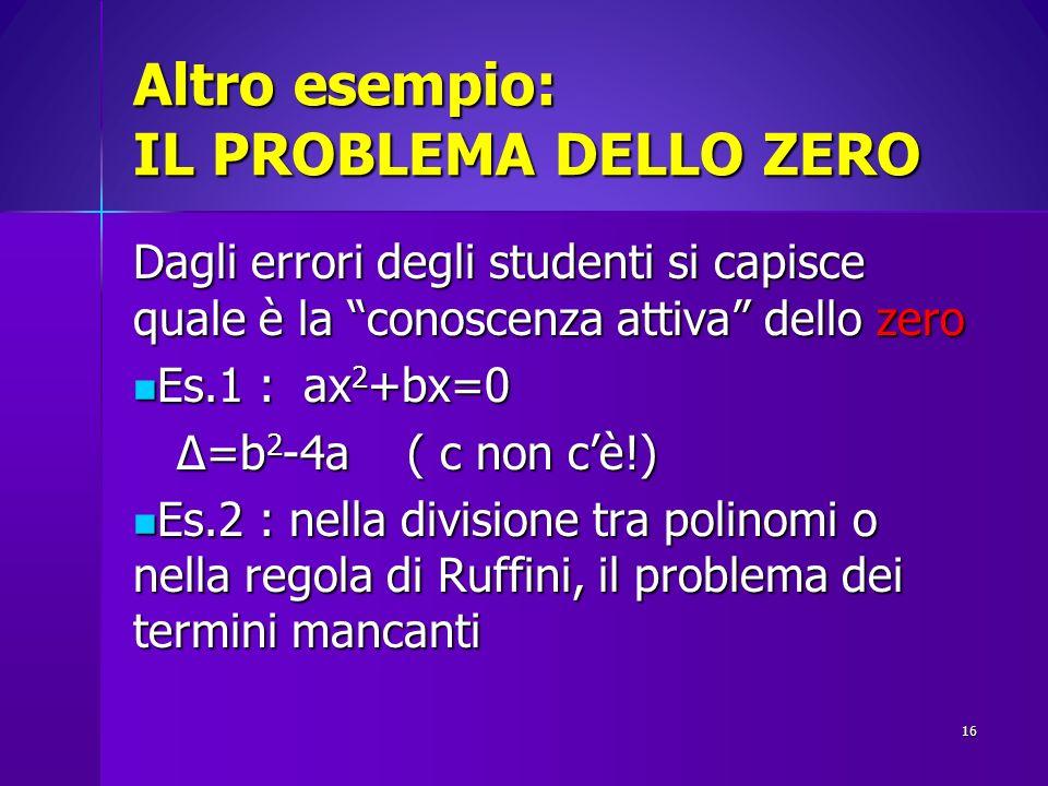 Altro esempio: IL PROBLEMA DELLO ZERO Dagli errori degli studenti si capisce quale è la conoscenza attiva dello zero Es.1 : ax 2 +bx=0 Es.1 : ax 2 +bx
