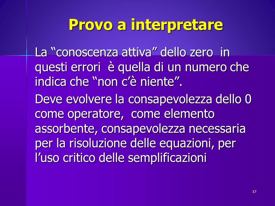 Provo a interpretare La conoscenza attiva dello zero in questi errori è quella di un numero che indica che non cè niente. Deve evolvere la consapevole