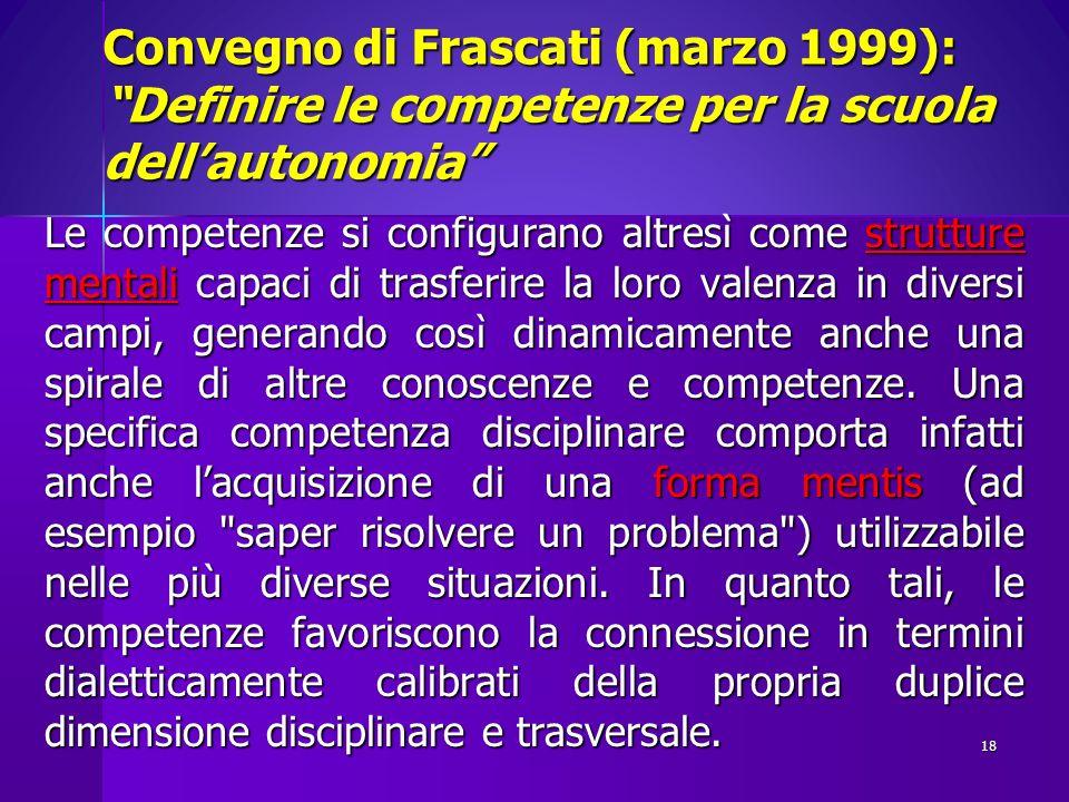 Convegno di Frascati (marzo 1999): Definire le competenze per la scuola dellautonomia Le competenze si configurano altresì come strutture mentali capa