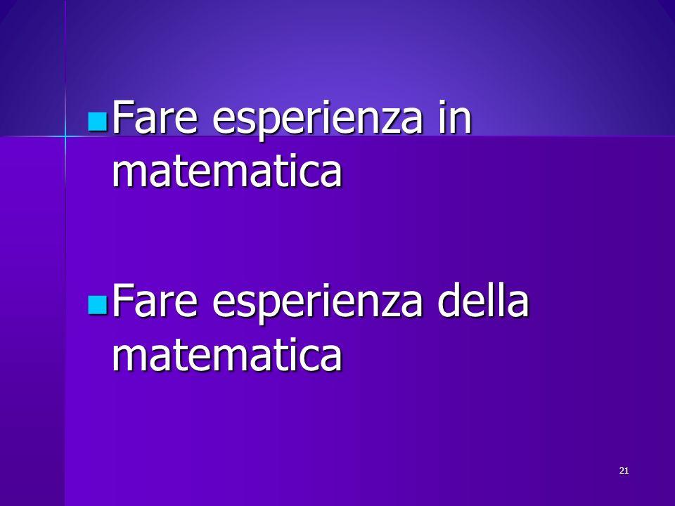 Fare esperienza in matematica Fare esperienza in matematica Fare esperienza della matematica Fare esperienza della matematica 21