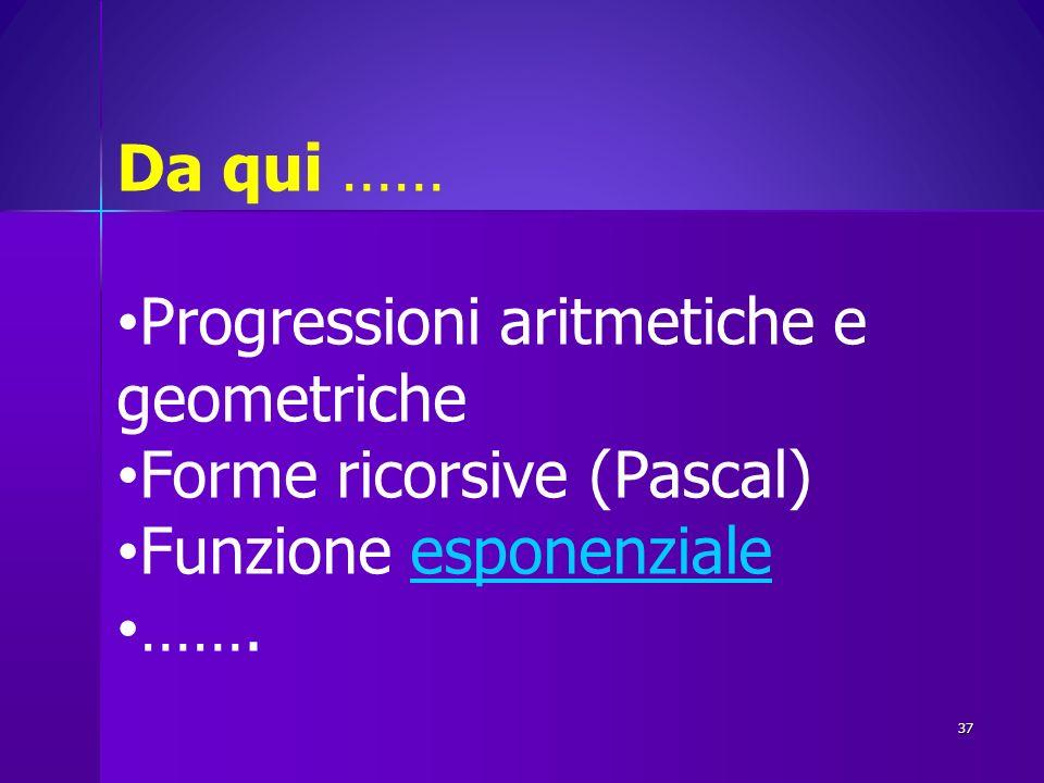 Da qui …… Progressioni aritmetiche e geometriche Forme ricorsive (Pascal) Funzione esponenzialeesponenziale ……. 37
