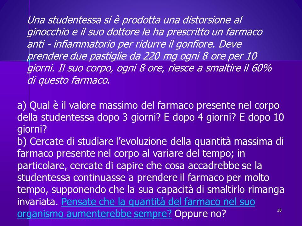 a) Qual è il valore massimo del farmaco presente nel corpo della studentessa dopo 3 giorni? E dopo 4 giorni? E dopo 10 giorni? b) Cercate di studiare