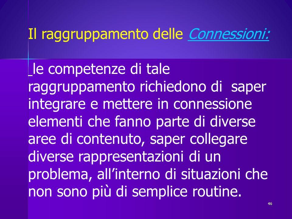 46 Il raggruppamento delle Connessioni:Connessioni: le competenze di tale raggruppamento richiedono di saper integrare e mettere in connessione elemen