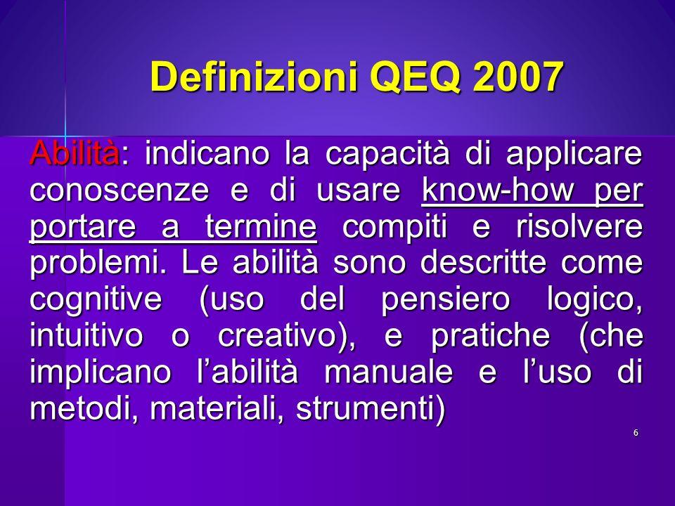 Definizioni QEQ 2007 Competenza: comprovata capacità di usare conoscenze, abilità e capacità personali, sociali e/o metodologiche, in situazioni di lavoro o di studio e nello sviluppo professionale e/o personale; le competenze sono descritte in termini di responsabilità e autonomia.